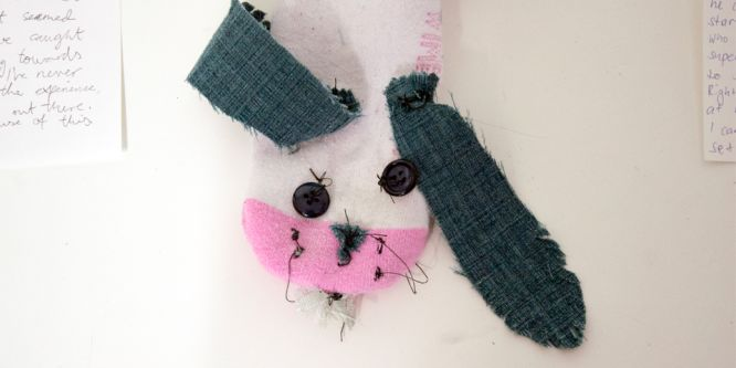 A knitted rabbit head