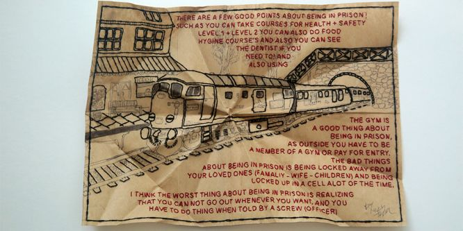 An intricate embroidery of a train which is surrounded by a quote, which is also embroidered