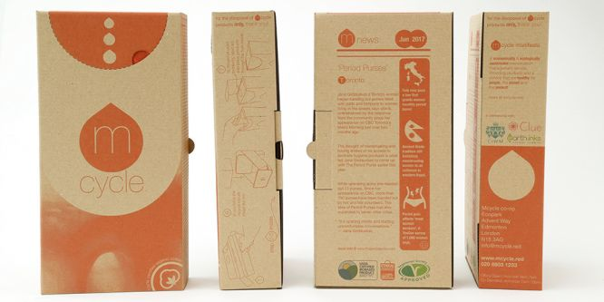 A series of cardboard boxes which has an orange branding across them