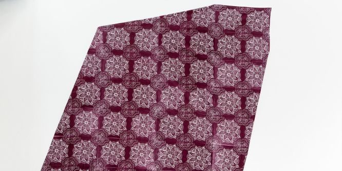 A piece of maroon fabric