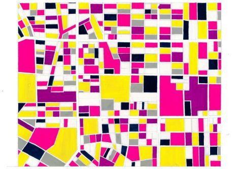 A geometric print in fluorescent colours