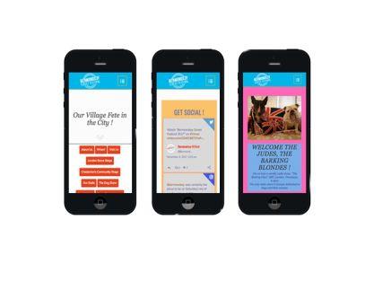 Website design for Bermondsey Street Festival, displayed on 3 phones