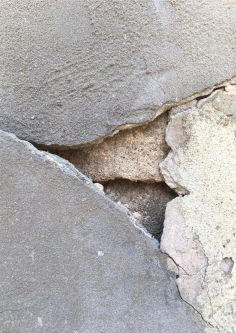 Close-up of a crack in a concrete wall