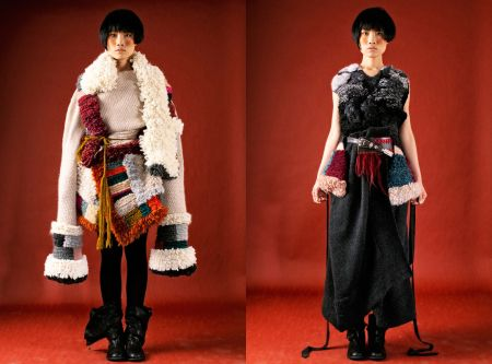 Chinese female model wearing knitwear by Lu Yang.