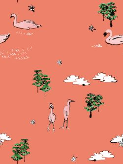 A wallpaper design featuring trees, clouds and birds by the brand Nottene