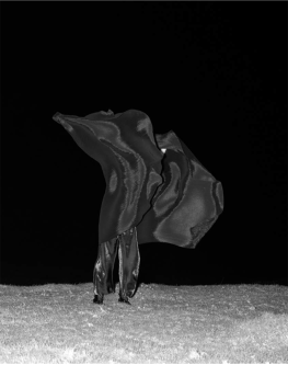 Photograph of a nighttime desert with a model wearing a black cape blowing in the wind