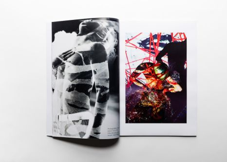 Double page spread of a book of abstract photohraphic images