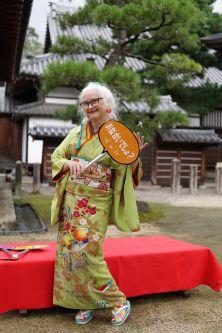 Sheila cliffe outside wearing a kimono