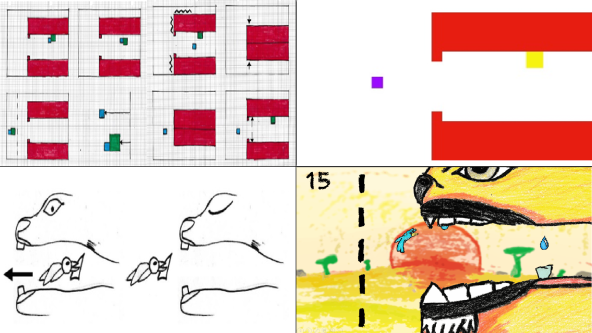 grid of 4 images showing development from paper to digital. the game shows a bird removing a tooth from a woodpeckers mouth.