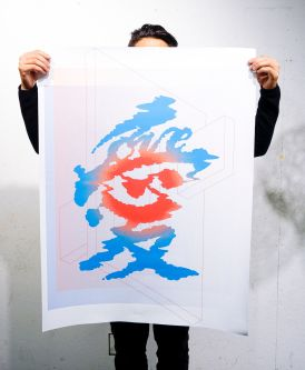 Man holds a poster with a large, watery Chinese character printed in blue and green