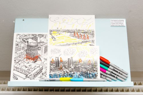 Exhibit showing different colouring activities of Elephant and Castle roundabout