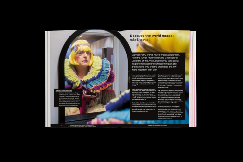 Mock-up of the Grayson Perry feature for the UAL prospectus