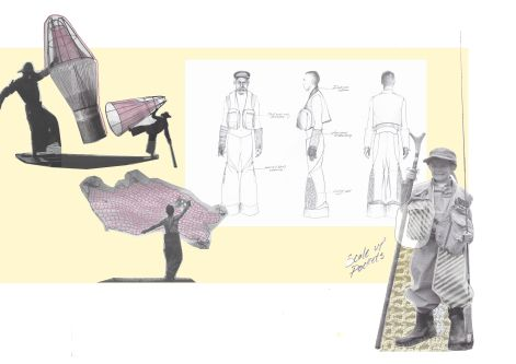 Sketchbook details of fly fishing clothes and actions