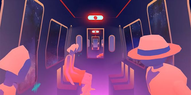 Colourful animation showing the view from inside a vehicle, onto a mountainous landscape.
