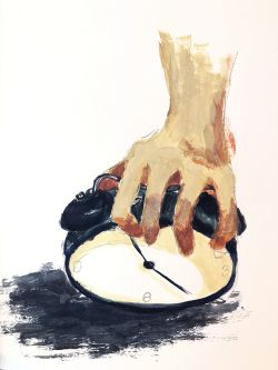 Painting of a hand holding a clock.
