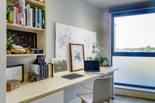 Photo of a desk in a student room in Sketch House