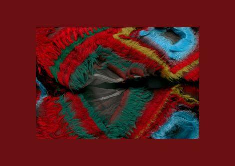 close up of multicoloured faux fur garment