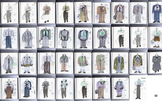 sketches of 35 garment looks - from overcoats to suits and workwear