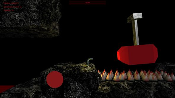 Still from an animated game showing a dark underground interior with a red geometric shape attached to a metal pole, hovering over a row of pencil tops.
