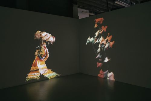 Screen with costumes moving