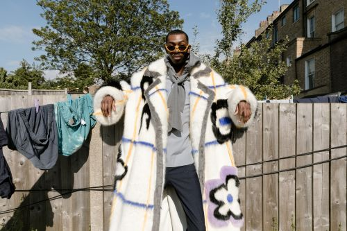 Man in patterned fluffy coat