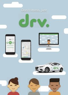 Branding shown on two mobile phone screens and a laptop. Cartoons of smiling people and a car all make up this advertisment.