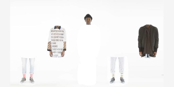 image of white background with man with afro dressed in different clothes cut into sections
