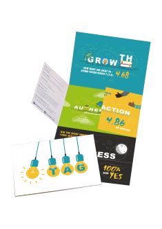 A series of designed pamphlets and leaflets, in block colours with images of lightbulbs.
