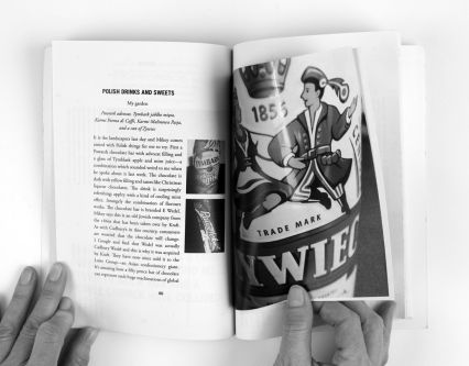 Open spread of Alison Barnes' book, showing a page of Polish drinks and sweets