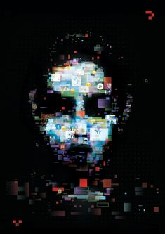 Digital image of pixellated face