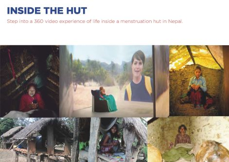Images of the interiors of menstrual huts with the words