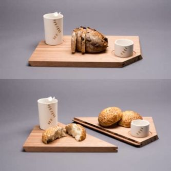 two pictures of bread on a chopping board with two mugs