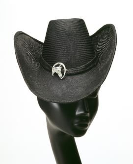 Black stetson hat with an upward arched brim sitting on top of a mannequin head.