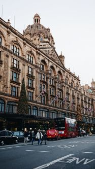 Harrods from the outside, decorated