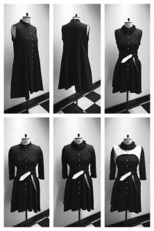 Six images of black shirt dress on mannequin in black and whtie