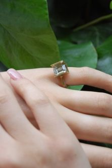 A model wearing one of Imogen Burch's rings