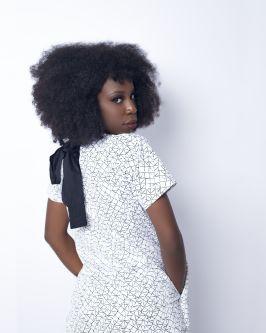 model wearing bolupe's design looking over her shoulder