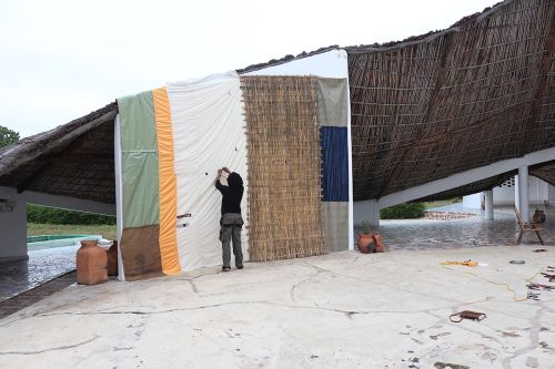 creating fabric sides to makeshift building