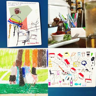 4 pictures showing varies examples of Erika Cule's 100 Drawing Projects work.