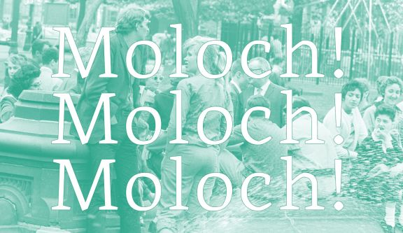 White text reading 'Moloch!' repeated on green background.