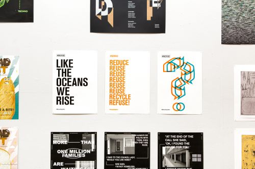 A selection of graphic design posters.