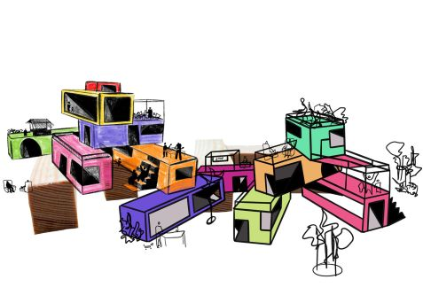 Illustration of coloured structures