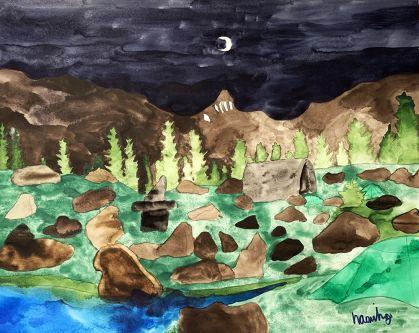 Watercolour painting of a moonlit landscape.