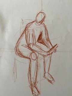 A pencil sketch of a human figure sitting down