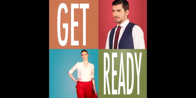 Image of square grid. Top right and bottom left read 'Get Ready'. Top right is an image of a man with slicked brown hair and bead wearing white shirt with red tie and blue waistcoat. Bottom left is of woman with hair tied back with white shirt and red trousers.