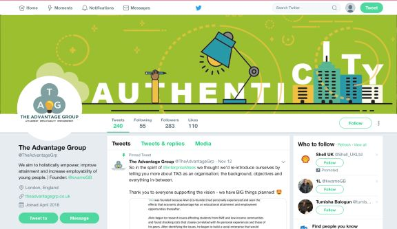 Twitter page design with the words 'authenticity' illustrated to look like a city.