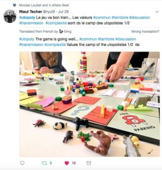 Tweet about the Utopoloy Board game