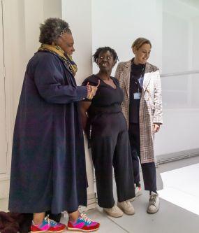 Professor Claudia Rankine, Mary Evans and Sophia Phoca tour the Chelsea Undergraduate degree show
