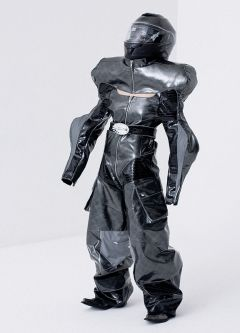 Male model wearing black space suit