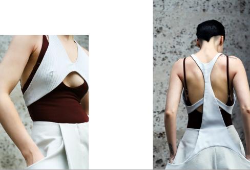 Model in white vest